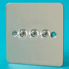 Varilight 3 Gang 10A 1 or 2 Way Dolly Toggle Light Switch Ultra Flat Polished Chrome XFCT3